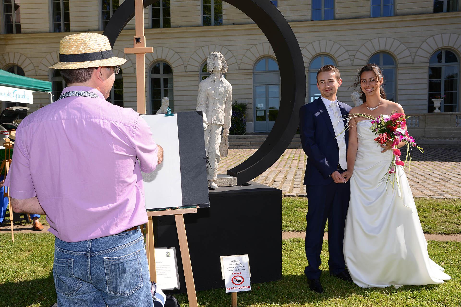 couple de maries et peintre